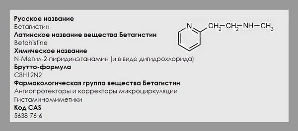 применение Бетагистина
