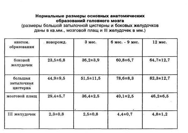 таблица с размерами